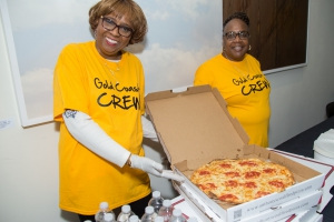 Volunteers, pizza